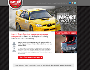 Web design for Import Track Day